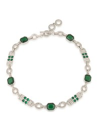 Carolee Wall Street Silvertone Choker Necklace Green