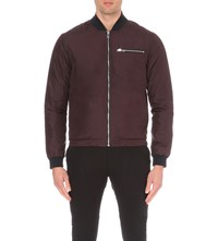 Reiss Bert Bomber Jacket Burgundy