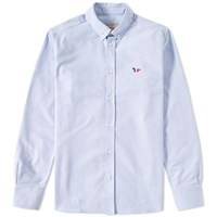 Maison Kitsune Button Down Classic Tricolour Fox Oxford Shirt Blue
