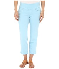 Jag Jeans Echo Pull On Classic Fit Crop In Dolce Twill Azure Women's Casual Pants Blue