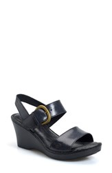 Born Women's Born 'Claudia' Wedge Sandal Black Leather
