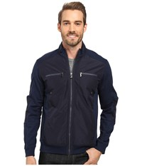 Calvin Klein Long Sleeve Fabric Blocked Sporty Terry Full Zip Dress Blue Men's Sweatshirt Navy