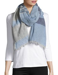 Lord And Taylor Striped Cashmere Scarf Blue