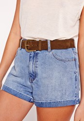 Missguided Classic Gold Buckle Belt Tan Brown