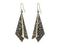 Alexis Bittar Two Tone Crystal Encrusted Layered Origami Wire Earrings Ruthenum