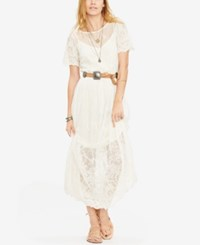 Denim And Supply Ralph Lauren Embroidered Tulle V Back Maxi Dress Antique Cream