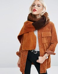 Asos Oversized Fluffy Scarf In Colourblock Brown