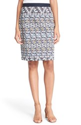 Women's Tory Burch Tile Print Ponte Knit Pencil Skirt Riviera Blue