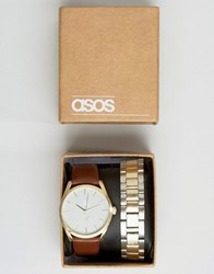 Asos Interchangeable Bracelet Watch In Silver And Gold Gold