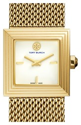 Tory Burch 'Sawyer' Square Mesh Strap Watch 25Mm Gold