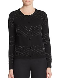 Alice Olivia Marybeth Beaded Striped Cardigan Black Gunmental