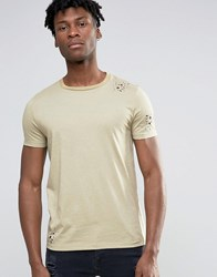Asos T Shirt With Heavy Distress Effect In Camel Camel 17 1224 Beige