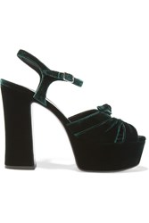 Saint Laurent Candy Velvet Platform Sandals Emerald