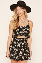 Forever 21 Floral Print Flounce Crop Top