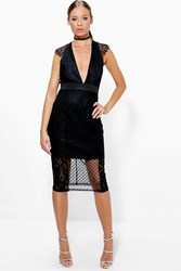 Boohoo Dobbie And Lace V Neck V Back Dress Black