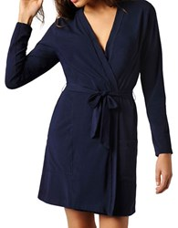 Naked Stretch Cotton Robe Peacoat