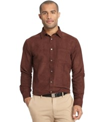 Van Heusen Faux Suede Long Sleeve Shirt Slate