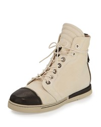 Stuart Weitzman Zipit Leather High Top Sneaker Bone Ivory Black