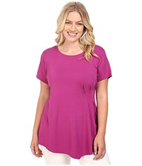 Vince Camuto Plus Size Short Sleeve Side Pleat Top Plum Tart Women's Clothing Pink