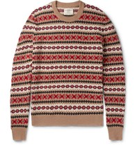Kent And Curwen Slim Fit Fair Isle Shetland Wool Sweater Sand