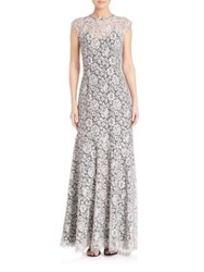 Shoshanna Two Tone Lace Gown White Black