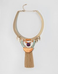 Ny Lon Nylon Statement Collar Necklace With Fringe Detail Gold Multi
