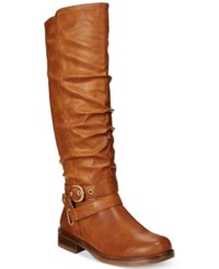 Xoxo Martin Wide Calf Riding Boots Women's Shoes Tan