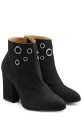 Sonia Rykiel Embellished Suede Ankle Boots Black