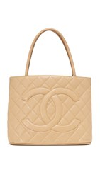 Wgaca Chanel Medallion Tote Previously Owned Beige