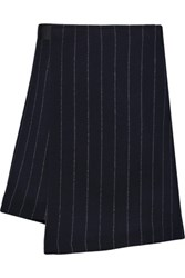 Maje Striped Wool Blend Wrap Mini Skirt Navy
