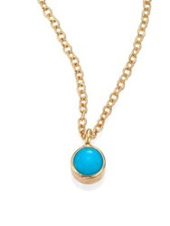 Zoe Chicco Turquoise And 14K Yellow Gold Pendant Necklace Gold Turquoise