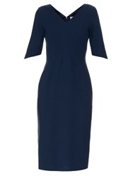Goat Carmen V Neck Wool Crepe Dress Navy