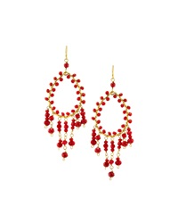 Nakamol Golden Crystal Teardrop Dangle Earrings Red