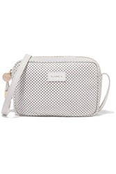 Clare V. V Mini Sac Perforated Leather Shoulder Bag Ivory