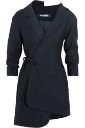 Jacquemus Wrap Effect Pinstriped Wool Pique Mini Dress Midnight Blue