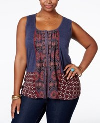 Lucky Brand Plus Size Multi Print Button Front Top Blue