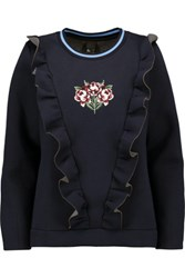 Mother Of Pearl Daisy Ruffled Bonded Cotton And Modal Blend Sweatshirt Storm Blue