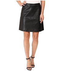 Vince Camuto Back Zip Distressed Pleather Skirt Rich Black Women's Skirt