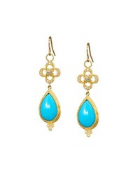 Jude Frances 18K Turquoise Diamond And Topaz Clover Drop Earrings