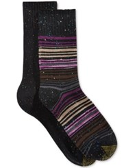 Gold Toe Women's 2 Pk. Aztec Stripe Boot Socks Black Berry