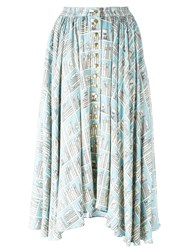 Olympia Le Tan Printed Full Skirt Blue