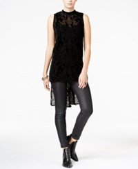 Bar Iii Velvet Burnout High Low Tank Top Only At Macy's Deep Black