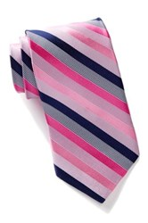 Nicole Miller Striped Silk Tie Pink