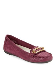 Anne Klein Snake Embossed Suede Loafers Wine