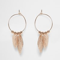 River Island Womens Rose Gold Tone Hoop Feather Earrings