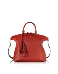 Tory Burch Thea Pebbled Leather Medium Slouchy Satchel Red