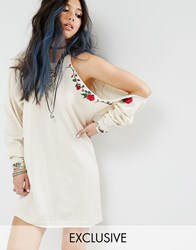 Milk It Vintage Military Dress With Cold Shoulder And Embroidery Cream