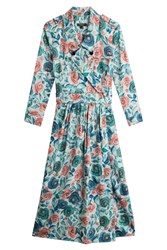 Burberry London Printed Cotton Dress With Mulberry Silk Florals