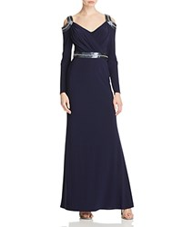 Mignon Mignon Beaded Cold Shoulder Gown Navy