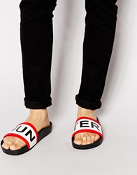 Hunter Slider Flip Flops Black